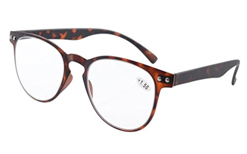 Eyekepper Round Full Coverage Ultrathin Flex Frame Reading Glasses Tortoise - Glasses For Narrow Reading Faces