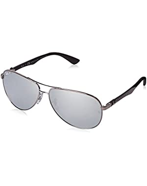 Carbon Fibre - Shiny Gunmetal Frame Polar Silver Lenses 61mm Polarized