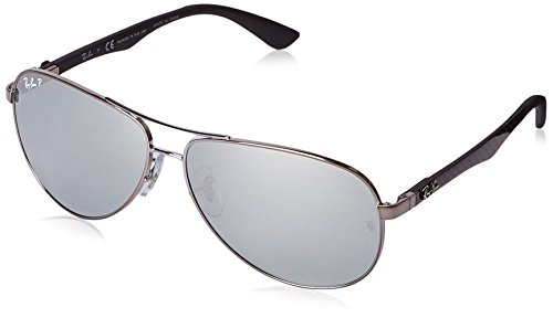 Carbon Fiber Ray - Ray-Ban Men's RB8313 Aviator Carbon Fiber Sunglasses, Shiny Gunmetal/Polarized Blue Mirror Silver, 61 mm