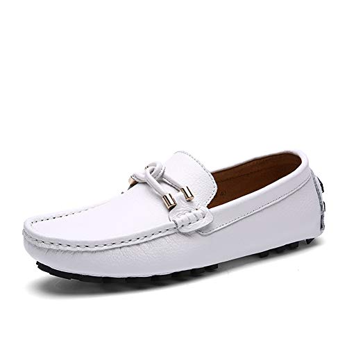 SUNROLAN Men's Penny Loafers Genuine Leather Driving Moccasins Slip-On Boat Flats Shoes White Size 10.5 (Sunrolan Moccasins For Men)