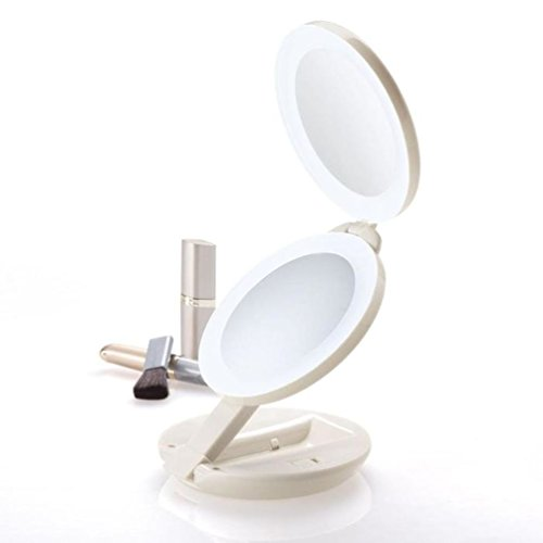 Zadro Dual LED Lighted 10X/1X Magnification Travel Mirror, -
