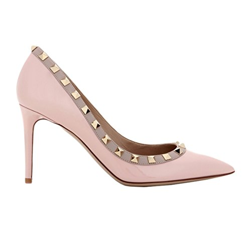 patent VOCOSI Heels Pointy Studs Pink Fashion Pumps High Sexy Stilettos Women's Shoes Toe Rivets Bxrq0BCOw
