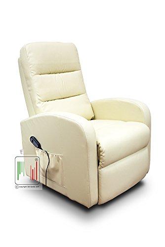 Poltrona Regolabile Con Telecomando.Stil Sedie Poltrona Reclinabile Relax Alzapersona Automatica Con Telecomando Con Rotelle In Ecopelle Beige