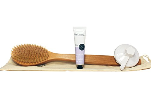 Dry Body Bath Brush & Back Scrubber w/ FREE Shower Hook, Body Lotion, Travel Bag - Long Handle - Excellent for Skin Exfoliating & Cellulite Massaging - Natural Boar Bristles (USA Seller) (Bathroom Scale Bronze)