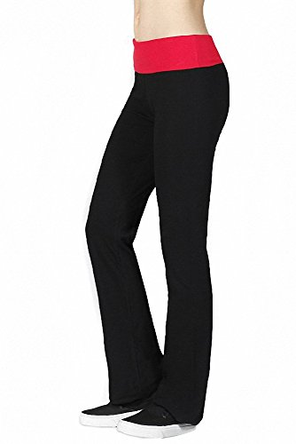Sassy Apparel Womens Contrast Color Full Length Fold Over Waist Yoga Pants (Small, Black-Summer Red)