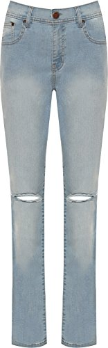 WearAll Women's Plus Stonewashed Ripped Knee Distressed Denim Jeans - Light Blue - US 16 (UK 20) (Womens Stonewashed Jeans)