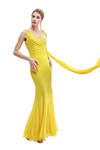 Ruffles Watteau Train Maxi Sleeveless Elegant Gowns Fashion Evening Dresses Vestido Color Yellow,One Size (Watteau Train)