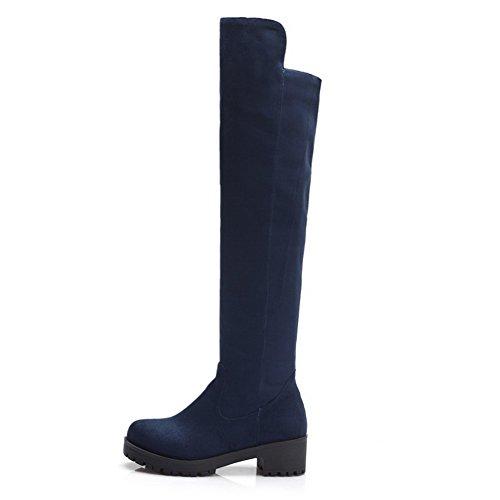 AgooLar Damen Mittler Absatz Hoch-Spitze Rund Zehe Mattglasbirne Stiefel, Blau, 39