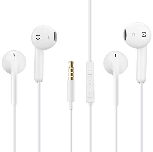 Earphones Wired Cell Phone Headsets Headphones/Headset .The Best Control for iPhone SE/5S/5C/5/6/6S Plus/iPad /iPod Nano 7/iPod Touch (White Pack of 2)