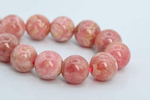 9mm Genuine Natural Rhodochrosite Beads Argentina Grade Round Loose Beads 7'' Crafting Key Chain Bracelet Necklace Jewelry Accessories Pendants 7' Cable Chain Bracelet