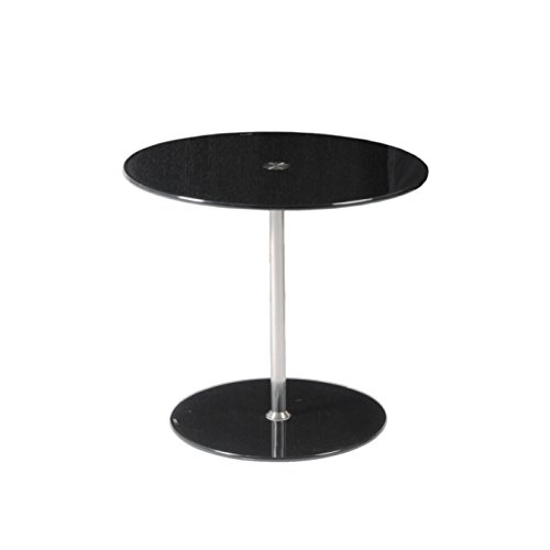 Euro Style Raina Side Table, Black Printed Glass/Stainless (Euro Style Side Table)