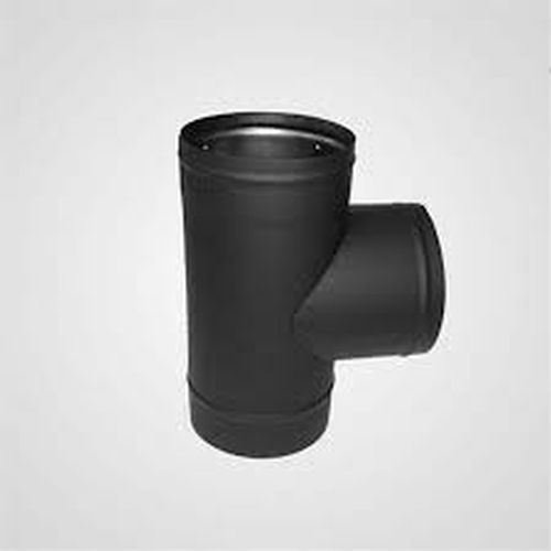 Heat Fab Tee (Lindemann 346008 Heat Fab 8 Inch Tee Black Stovepipe - 22 Ga. with Crimped Nose)