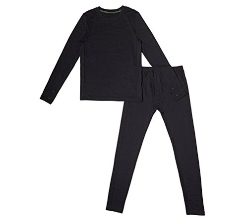 ClimateSmart Boys Base Layer Comfortech Poly for Warmth by CuddlDuds (M), Black (Caps Polo Team Set)
