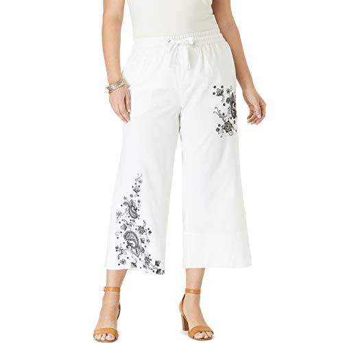 (Roamans Women's Plus Size Linen Wide-Leg Crop Pant - Embroidered Paisley, 18 W)