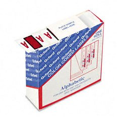 Pendaflex A-Z Color Coded Bar Style End Tab Filing Labels, Red, Letter A, 500 Per Roll (Esselte Color Coded Bar)