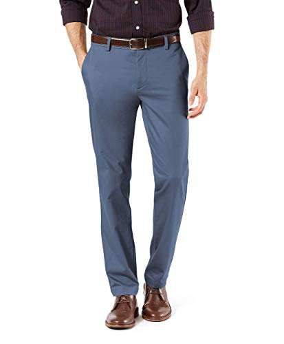 Dockers Men's Slim Tapered Signature Khaki Lux Cotton Stretch Pants, Ombre Blue, 31W x 30L