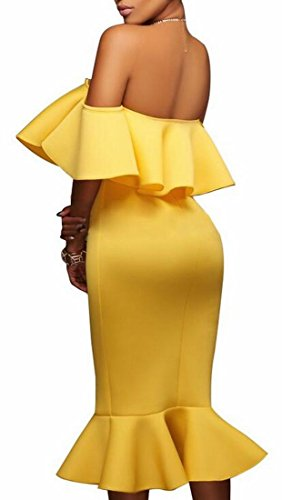 Dress Bodycon Midi Shoulder Mermaid Sexy Womens Yellow Ruffle Party Jaycargogo Off Yqw6fznR