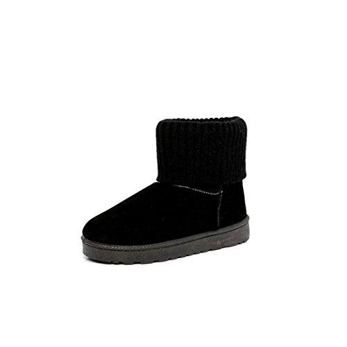 Kvinnor Damer Vintern Furry Varmare Boots Snö Tossor Skor Svart