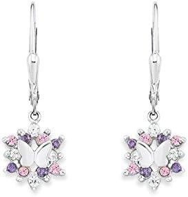 Prinzessin Lillifee/ /Boucles dOreilles Fille Argent 925/Papillons rhodi/é avec Oxyde de Zirconium/ /Violet Rose Taille unique