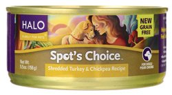 Halo, Purely For Pets Spot's Choice for Dogs - Shredded Turkey & Chickpea Recipe 5.5 oz (156 g) Can