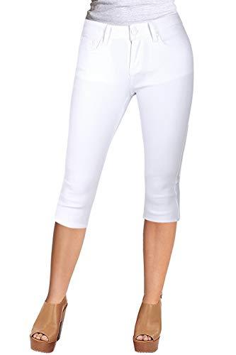 (2LUV Women's Stretchy 5 Pocket Skinny White Capri Jeans White 1(UA692))