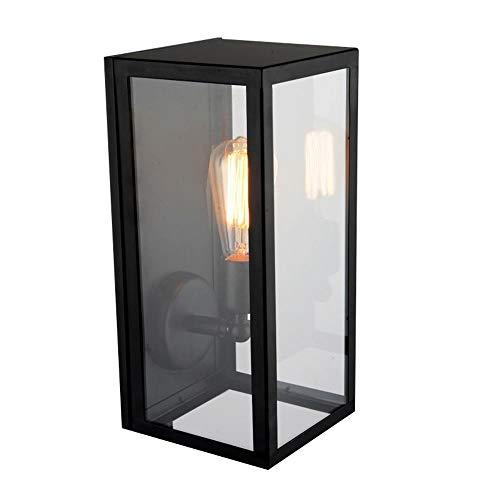 JiaYouJia Industrial Square Black Metal Glass Shade Single-Light Outdoor/Indoor Wall Lantern Porch Wall Mount Light Fixture