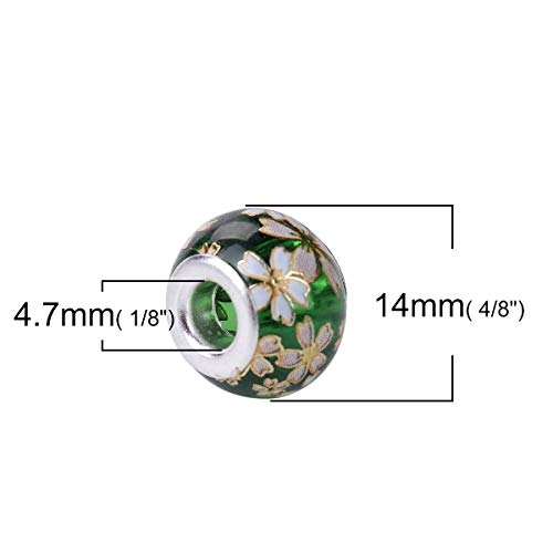 Mercury_Group, Handmade Jewelry_Glass Vintage Japanese Tensha European Style Large Hole Charm Beads Round Silver Plated Sakura Flower About 14mm, 5 PCs - (Color:7)