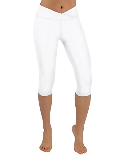 ODODOS Power Flex V Front Yoga Capris,Gym Running Workout Non See-Through Yoga Leggings,White,Large