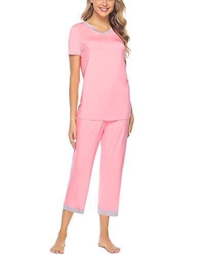 Hawiton Women's Capri Pants Pajamas Set Cotton Stretchy Knit Short Sleeve Sleepwear S-XL Pink