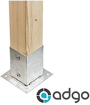 ADGO - Soporte para postes (90 x 90 mm, galvanizado, para postes de cerca, de 90 x 90 mm), color plateado: Amazon.es: Bricolaje y herramientas