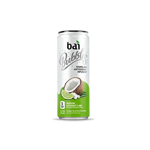 Bai Bubbles, Sparkling Water, Waikiki Coconut Lime, Antioxidant Infused Drinks, 11.5 Fl. Oz Cans, 12 count ()