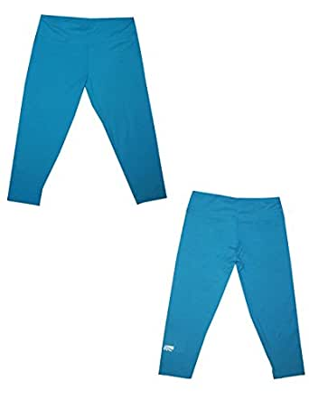 Marika Girls Professional Sports Skinny Leggings / Yoga Capri Pants L Blue