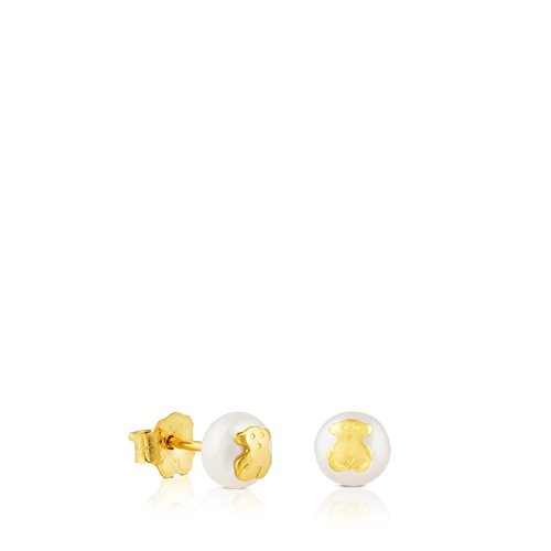 (TOUS Bear Earrings in 18kt Yellow Gold with 6mm Cultured Freshwater Pearl.)