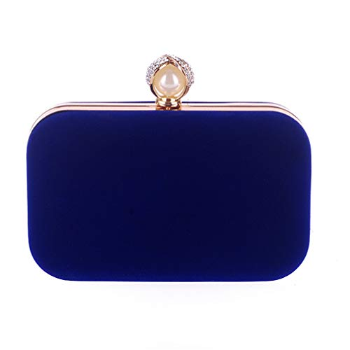 Bag Party Velour Velvet Pearl blue Hand Mini Clutch Wedding Women ULKpiaoliang Crystal Ladies Purse Day Evening Bags Bridal B7qnfz8