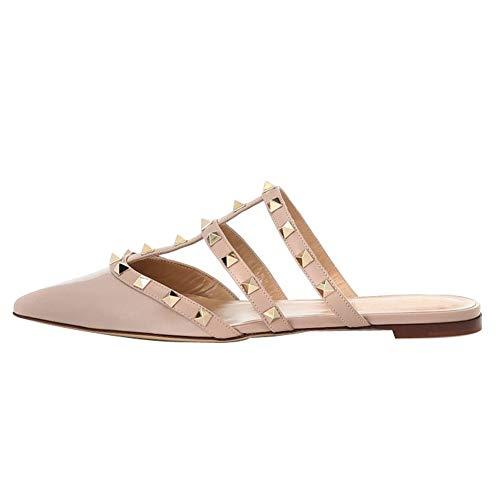 (Themost Mules for Women Rivet Stud Pointed Toe Mule Studded Strappy Slipper Flat Sandals Slip On Loafer Slides)