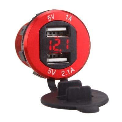 ExcLent Cargador De Coche Portátil Doble Puerto USB - Rojo ...