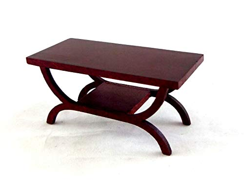 Town Square Miniatures Dolls House Miniature 1:12 Scale Lounge Furniture Mahogany Art Deco Coffee Table