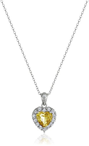 Platinum Plated Sterling Silver Citrine and White Topaz Halo Heart Pendant Necklace, 18