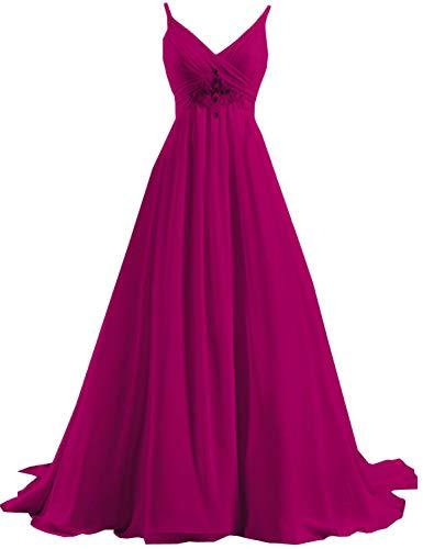 Vimans Women's Long Chiffon Prom Dresses 2018 V Neck Beading Formal Gown Fuchsia Size ()