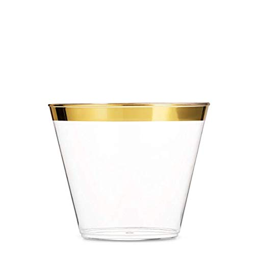 100 Gold Plastic Cups | 9 Oz Clear Plastic Cups | Gold Rimmed Plastic Cups | Fancy Party Supplies | Elegant Party Cups with Gold Rim