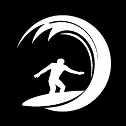 Surfing Wave Vinyl Decal Sticker|Cars Trucks Vans Walls Laptops Cups|White|5 in| KCD810
