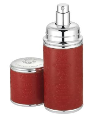 Refillable Leather & Silvertone Pocket Atomizer/Red