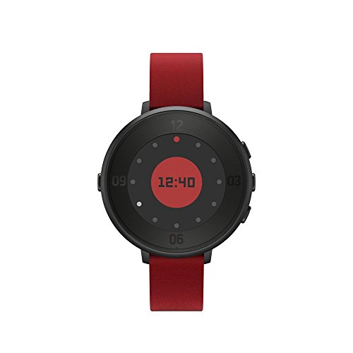 Pebble Time Round 14mm Smartwatch for Apple/Android Devices - Black/Red by Pebble Technology Corp
