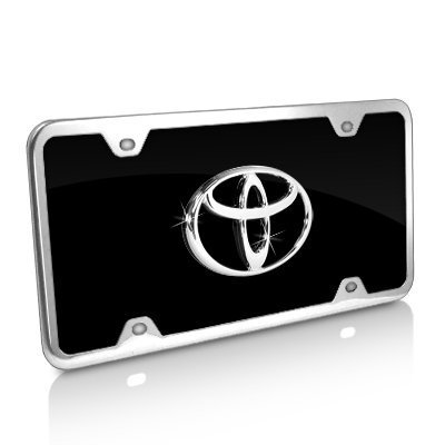 - Toyota Logo Black Acrylic License Plate with Chrome Frame Kit