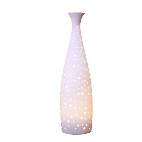 2019 New Ceramic Essential Oil Diffuser, Decorative Aromatherapy Humidifier w/Hand-Crafed White Porcelain Vase Cover & Pretty LED Light, Premium Birthday Gift for Women/Men
