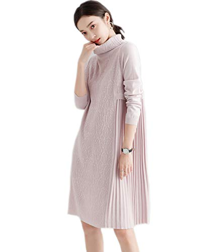 MedeShe Womens Sweater Dress Winter Dress Cashmere Wool Pullover Sweaters Long Sleeve (US 6/8, Nude Pink)