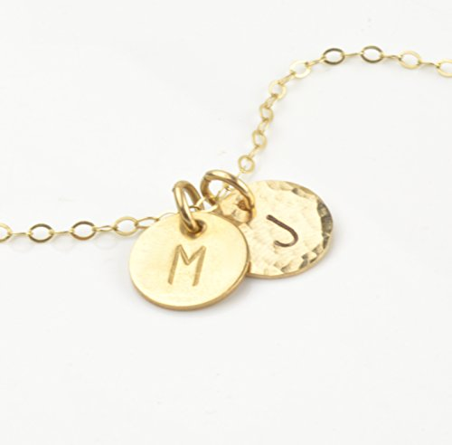 Two Initial Necklace Gold Disc Personalized Charms Tiny 2 Pendant Necklace Handmade Jewelry