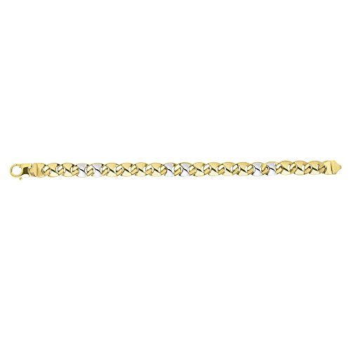 BH 5 Star Jewelry 14k 8.5'' Yellow+White Gold 9mm Shiny Puff Marquis Shaped Fancy Mariner Link Bracelet with Lobster Clasp by BH 5 Star Jewelry