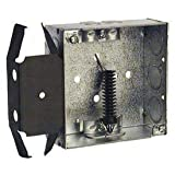 Hubbell 228 Square Box 4'', 1-1/2''D, 1/2'' & 3/4'' Side Knockouts, Nmsc Clamps, Stud Bracket - Pkg Qty 25 (228)