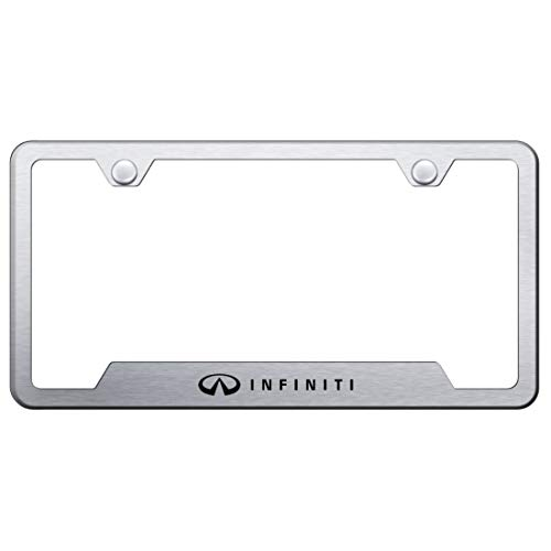 Infiniti Stainless Steel License Plate Frame G35 G37 EX FX JX QX Laser Etched Brushed Stainless Made in USA Frame Satin Matte